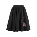 New Trendy Elastic High-Rise Fashion Cartoon Dog Embroidered Black Midi A-Line Pleated Skirt