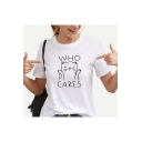 White Cotton Letter WHO CARES Cartoon Cat Printed Short Sleeve Round Neck Tee