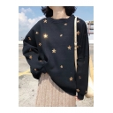 Fashion Star Sequined Embroidered Long Sleeve Crew Neck Loose Black Sweatshirt