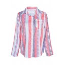 Fashion Striped Long Sleeve Lapel Collar Pink Button Down Shirt
