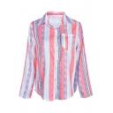 Fashion Striped Long Sleeve Lapel Collar Pink Button Down Shirt