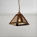 Vintage Mesh Cage Trapezoid Drop Light Metal Single Light Hanging Lamp for Restaurant