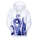 Digital Long Sleeve 3D Octopus Printed Unisex White Loose Hoodie