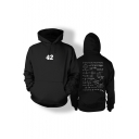 Trendy Simple Letter Printed Long Sleeve Black Hoodie for Guys