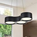 Honeycomb Led Chandelier Modern Style Metal 3 Light Pendant Lighting in Black for Office Dining Room