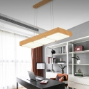 Nordic Style Linear Chandelier Metal 3/4/5 Light Hanging Pendant Lighting in Wood Grain Finish