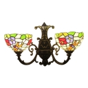 Dragonfly Wall Mount Light Tiffany Rustic Stained Glass 2 Heads Sconce Light in Multicolor