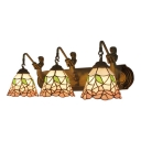 Tiffany Style Floral Wall Mount Fixture Stained Glass 3 Lights Wall Mount Light in Blue/Pink