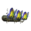 Multicolored Butterfly Wall Light Tiffany Style Stained Glass 3 Heads Wall Mount Fixture for Corridor