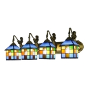 Multicolored Lantern Shade Sconce Light Tiffany Style Stained Glass 4 Heads Wall Lamp