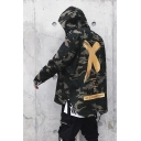 Military Style Green Cotton Cross Print Back Camo Zip Front Dipped Hem Hooded Jacket