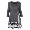 Gray Long Sleeve Round Neck Button Embellished Patched Floral Printed Mini Shirt Dress