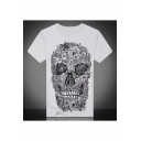 White Trendy Skull Pattern Round Neck Short Sleeves Summer Tee