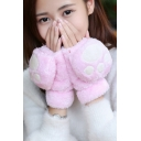 New Stylish Cat Paw Pattern Fluffy Gloves for Girls