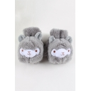 Cute Cartoon Alpaca Printed Warm Fingerless Flip Gloves