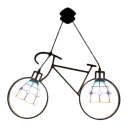 Double Heads Bicycle Pendant Light Tiffany Stylish Stained Glass Suspended Lamp in Blue
