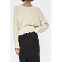 Women's Style Beige Round Neck Long Sleeve Ruffle Gathered Hem Knitwear