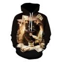 Black Money Dollar Animal Cat Printed Long Sleeve Loose Hoodie