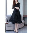 Elegant Black Feather Embellished Scoop Neck Long Sleeve Belted Fit & Flare Dress