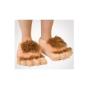 Antique Hobbit Big Feet Deign Brown Slippers