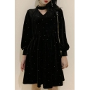 Polka Dot Printed Long Sleeve V Neck Black Velvet Mini A-Line Dress