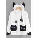 Stylish Long Sleeve Cat Pockets Patch Claw White Drawstring Hoodie