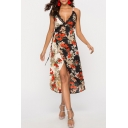 Trendy Floral Printed Lace-Trimmed V-Neck Two-Tone Black Midi Wrap Slip Dress
