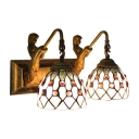 Jeweled Wall Light Sconce Tiffany Style Vintage Beige/Blue Glass Double Heads Wall Lamp