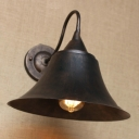 Weathered Steel Bell Wall Light Vintage 1 Head Wall Sconce with Curved Arm for Porch
