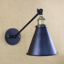 Black Coolie Wall Sconce Industrial Metal Single Bulb Wall Light for Coffee Shop