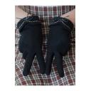 Sweet Cute Bow Embellished Plain Warm Fleece Touch Screen Outdoor Gloves