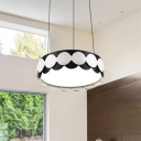 Modern Style Drum Shade Pendant Light Black and White Acrylic LED Hanging Light for Bedroom Bathroom