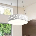 Etched Metal Drum Shade Ceiling Pendant Light White Finish LED Hanging Lamp for Office