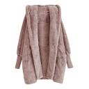 Winter's New Arrival Long Sleeve Hooded Opeb Front Ribbed Cuff Fleece Tunics Coat