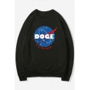 Loose Long Sleeve Round Neck Letter NASA Printed Fashion Sweatshirt for Juniors