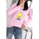 Hot Sale Long Sleeve Yellow Duck Printed Round Neck Tee for Girls