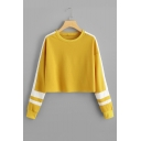 Crewneck Long Sleeve White Striped Patched Cropped Yellow Sweatshirt