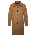 Simple Long Sleeve Lapel Collar Single Breasted Plain Longline Woolen Coat