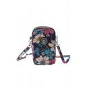Unique Floral Printed Zip Closure Bag for Girls 18cm*10cm*3cm