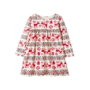 Cute Christmas Series Cartoon Deer Printed Round Neck Long Sleeve Midi Smock Dress for Children