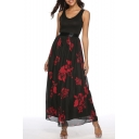 Casual Scoop Neck Sleeveless Floral Printed Zip Embellished Maxi A-Line Black Dress