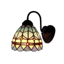 Aqua Gooseneck Dome Wall Sconce Simple Tiffany Style Stained Glass Wall Light for Staircase