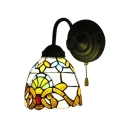 Victorian Tiffany Style Dome Wall Lamp Stained Glass Wall Sconce in Multicolor for Bedroom