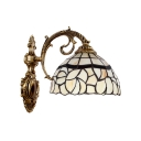 Beige Dome Wall Light Traditional Tiffany Style Stained Glass Wall Sconce for Staircase