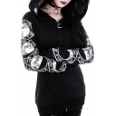 Hot Fashion Punk Style Long Sleeve Moon Pattern Zip Up Black Slim Hoodie