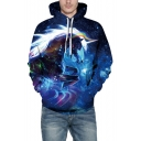 Blue 3D Unicorn Galaxy Printed Long Sleeve Relaxed Sports Unisex Hoodie