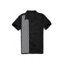 Classic Black and White Plaid Printed Short Sleeve Lapel Collar Button Down Shirt for Men