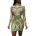 New Arrival Mock Neck Long Sleeve Sequined Floral Print Mini Bodycon Apricot Dress