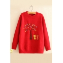 Funny Long Sleeve Round Neck Cartoon Cat Tree Embroidered Loose Sweater