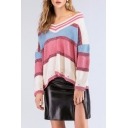 Women's Stylish Off The Shoulder Long Sleeve Color Block Leisure Loose Pink Sweater
